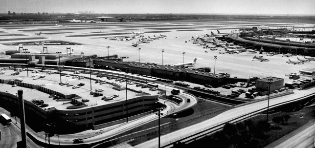 I made this image from the Dallas-Fort Worth central control tower on our air traffic control tour day in September 1994.