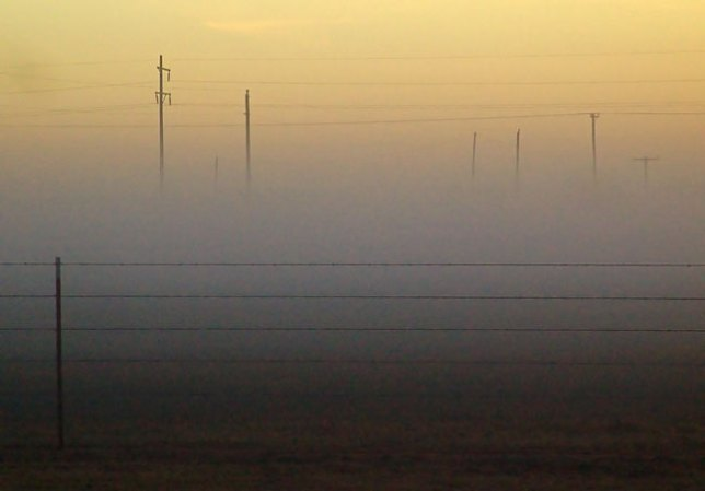 A thin layer of fog settles on pastures around Ryan, Oklahoma yesterday.