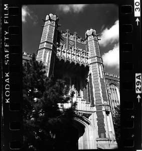 This is the south side of the Bizzell Library at Oklahoma University in 1984. During that period, the attic of the library was full of a littered mess of moldy documents and cold war relics.