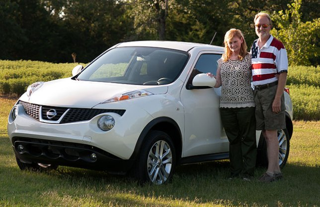 Abby and I pose tonight with our new Nissan Juke SL all-wheel-drive crossover. It is fun to drive, economical, and, in our opinion, great looking.