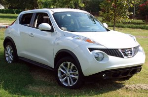 "Our Nissan Juke sits in the front yard today. A friend of mine said, ""It looks like an animal, ready to pounce."""