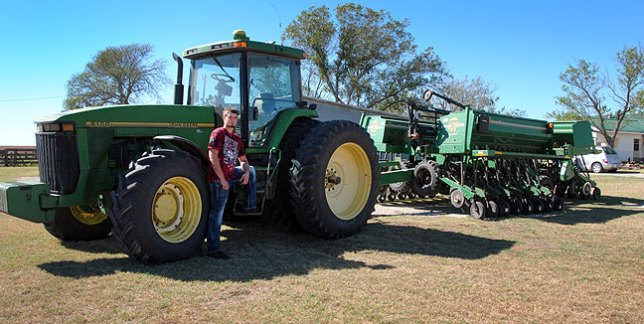 We found this combine parked at Abby's stepmother's house, and used it as a prop.
