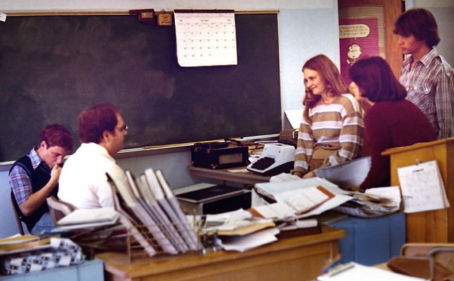 I was on the Talon Yearbook staff in 11th and 12th grade. This image shows Cyprien LaPorte, advisor Rick Hill, Connie Stokes, Robin Wooten, and Gerald Kyle.
