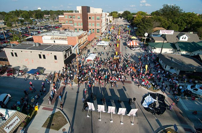 Some weeks seem to follow themes, and this one, so far anyway, is all about getting up high on stuff, as in this view of Main Street in Ada during last night's Block Party for Blake Shelton, shot from atop an electric company's bucket truck.
