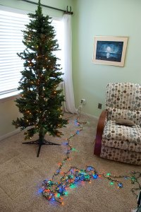 As I got the tree put up and found the super-long LED strings, I decided a major switch was in order.