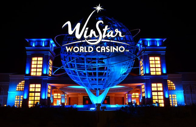 This is the main entrance to Winstar World Casino at night. Compare it to the daytime image at the beginning of this post.