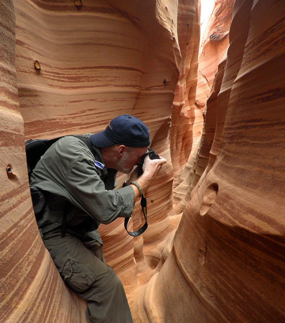 A nice couple, Martha and Gray from San Francisco, made this image of me in Zebra Slot Canyon in the Grand Staircase/Escalante National Monument this week, It was one of my top tier items to photograph, and was everything I hoped.