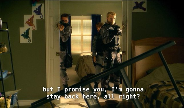 Drywall and good intentions are NOT cover, as made obvious in this absurd scene from Flashpoint.