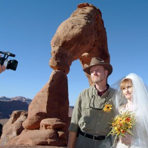 Abby and I exchange wedding vows at Utah's iconic Delicate Arch in Arches National Park 12 years ago today.