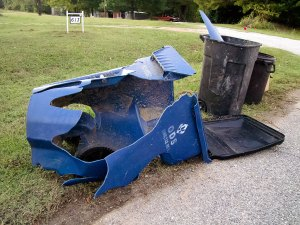 """Our Waste Systems """"polycart"""" was blown over in a thunderstorm, them struck by a vehicle. We requested another and received it in a few days."""