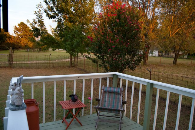 In the midst of this stressful work, I took note the the porch and front yard looked amazing at sunset.