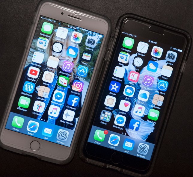 My personal iPhone 7 Plus is on the left, and the new work iPhone 7 Plus assigned to me is on the right. Though they have very similar capacities, I use each very differently.
