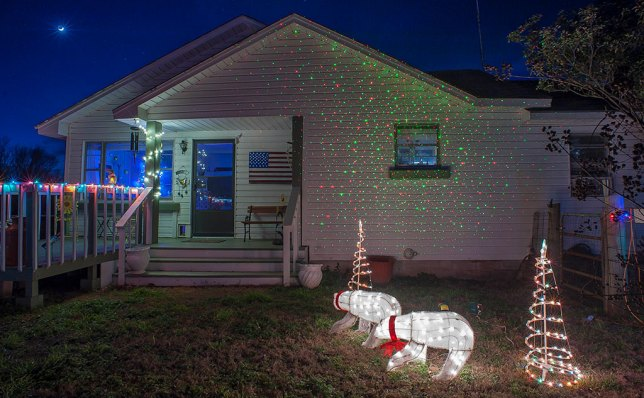 I always decorate the house, but it seems more significant when our grandson comes to visit. This year I was able to add a red-green laser light projector, which my sister Nicole sent me.