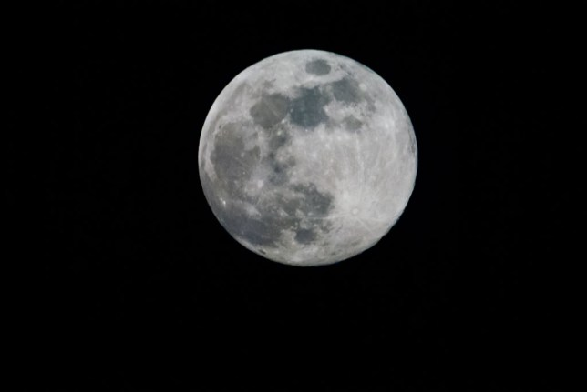 The moon was full on May 29, so I got out my experimental/throw away 500mm mirror lens and made this image of it.