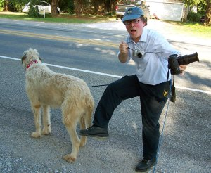Robert gets tangles in a web of leashes and camera straps as we walk Hawken the Irish Wolfhound.