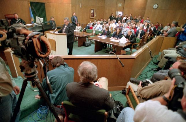 "This is an overview of the courtroom April 15, 1999, when Dennis Fritz and Ron Williamson were released from prison after DNA evidence exonerate of the 1982 murder of Debra Sue Carter. As Abby and I watched ""The Innocent Man,"" I recognized many people I know very well to this day."