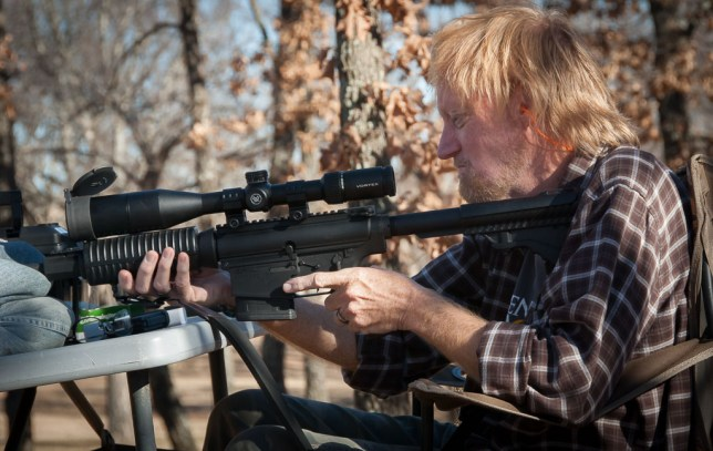 Your humble host prepares to put a .308 round downrange at the home of Wes Edens recently.