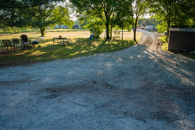 The tower installation crew built this short gravel road from the Nipps' driveway to the site.