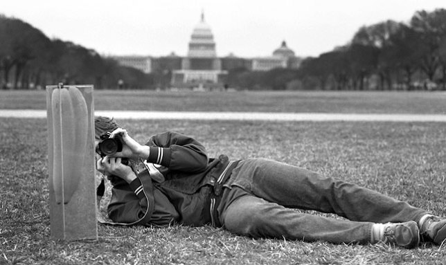 Scott photographs the World's Greatest Siamese Pickle on The Mall in Washington, D.C.