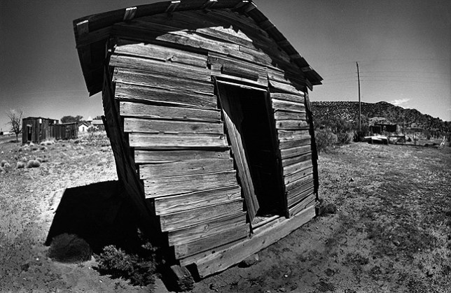 "This fisheye view of Cuervo, New Mexico shows the state of the structures there, thus the moniker ""Ghost Town."""