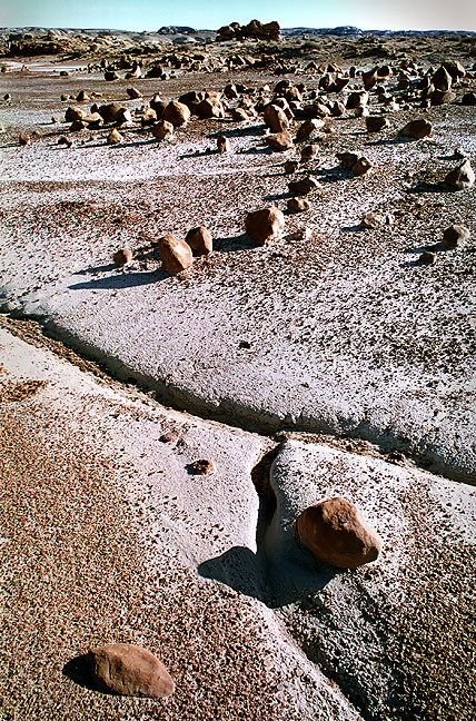 Boulder field and wash, Bisti.