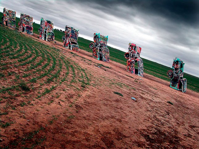 Despite the rain, on our way home we stopped at Amarillo's famous Cadillac Ranch.