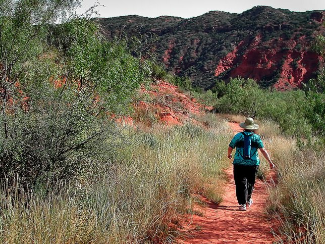 Margaret makes her way along one of the network of trails at Caprock Canyons.