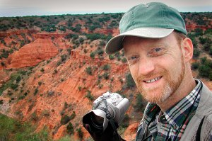 The author hikes on the Rim Trail at Caprock Canyons.