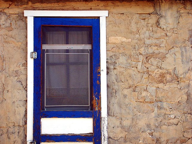 Blue door and wall, Acoma Pueblo.