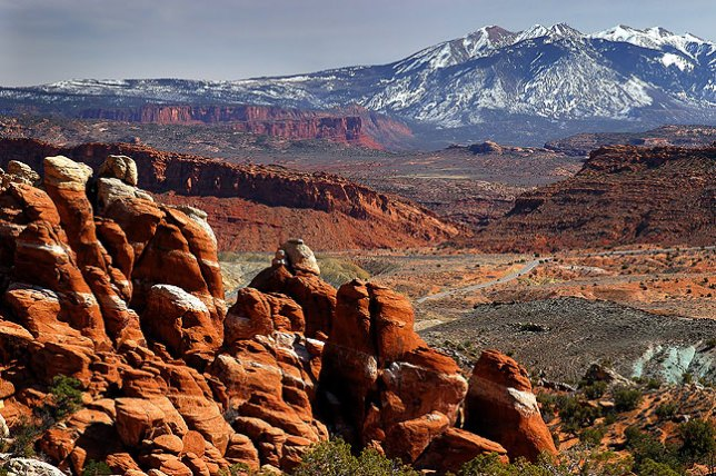This image of the Fiery Furnace includes the La Sal Mountains in the distance.
