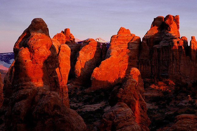 Last light graces the Windows section at Arches National Park.