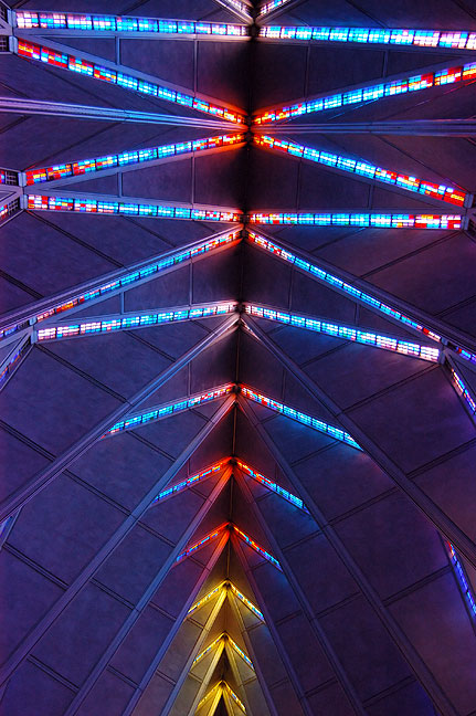 Stained glass fills sections of the ceiling at the Air Force Academy Chapel. The architecture is reminiscent, to me anyway, of that of Frank Lloyd Wright.