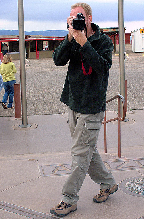 The author makes video at Four Corners Monument.