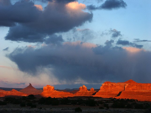 The sun sets near Squaw Flat in Canyonlands.
