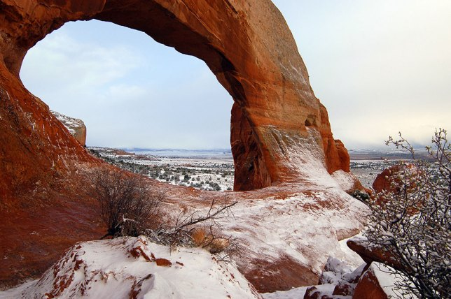 Wilson Arch, like most things we photograph, looks entirely different with a dusting of snow on it.