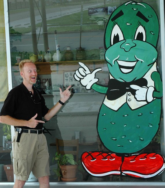 Your host poses with The Chubby Pickle in Phillipsburg, Kansas.