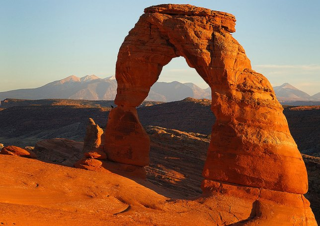 This iconic shot of Delicate Arch was made just a few moments before sunset.