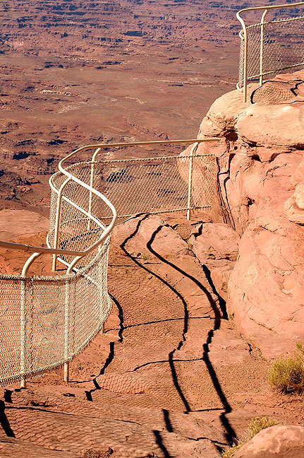 Fences line the trail at the Needles Overlook at Hatch Point.