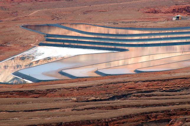 The potash mine near the Colorado River uses settling ponds. Not only are they visible from the Anticline Overlook, they are also visible from space.