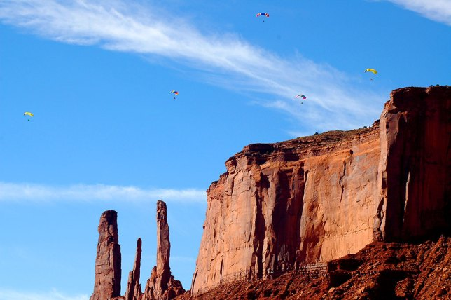 Abby photographed these five powered paragliders above John Ford's Point at Monument Valley.