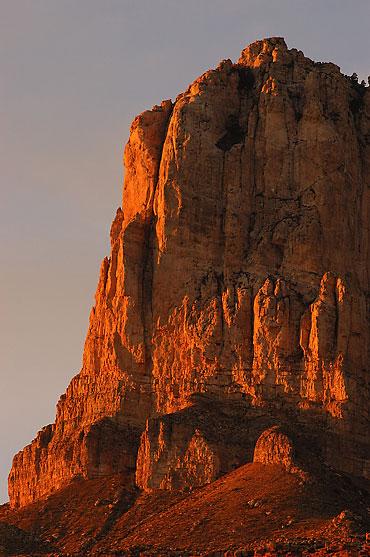El Capitan Peak glows deep hues at sunset, Guadalupe Mountains.