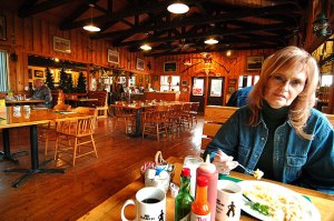 Abby has breakfast at MD Ranch Cookhouse.