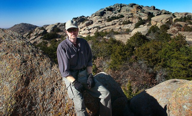 The author hikes near Sitting Rock in December 2004.