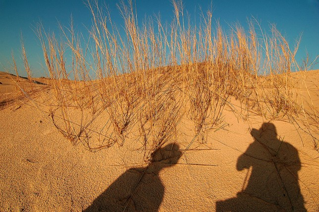 Our shadows appear on the ground as the afternoon grows late at Monahans Sandhills State Park.
