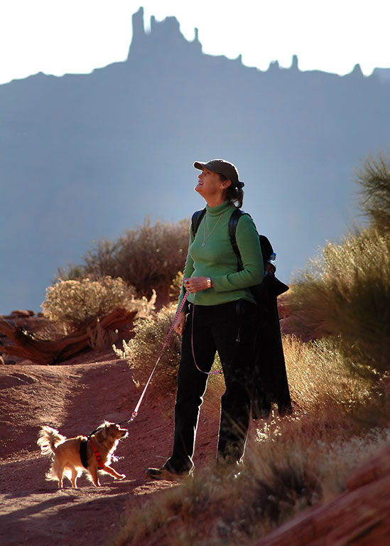 Abby plays with Sierra on the Fisher Towers trail. This is my favorite image from this trip.
