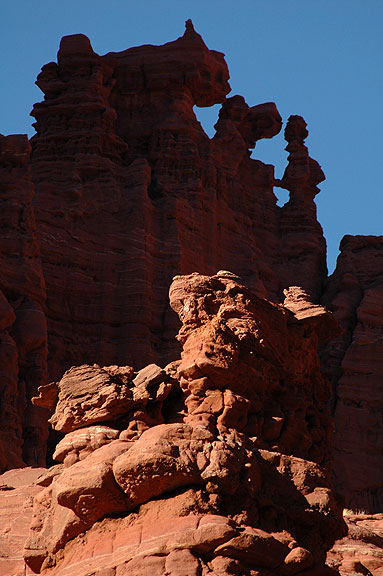 Afternoon light creates shadows on formations at Fisher Towers.