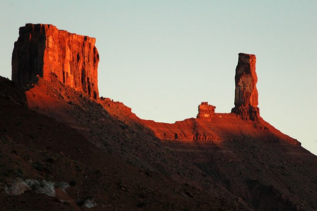 The castle of Castle Valley east of Moab, Utah at sunset.