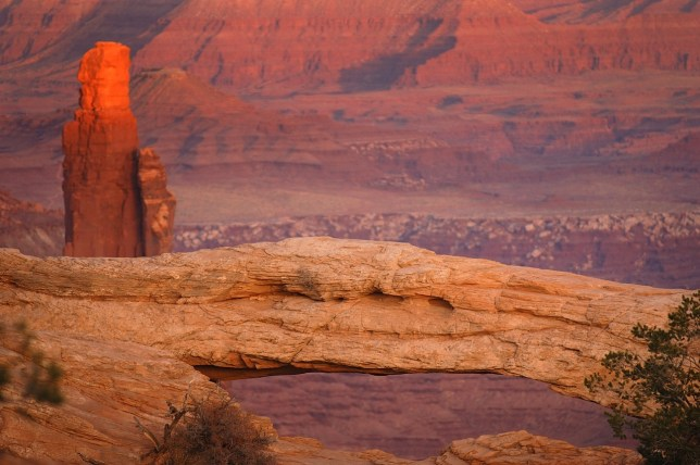 Mesa Arch and Monster Tower, sunset, Canyonlands.