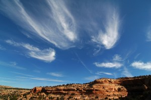 Cirrus clouds dance high above the Neck Spring trail.