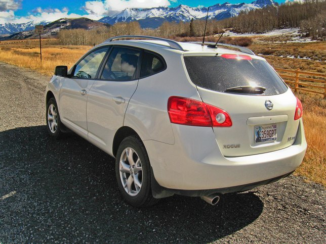 "Our Nissan Rogue sits on the turnout at Dallas Divide as we prepare to drive the ""Million Dollar Highway."""